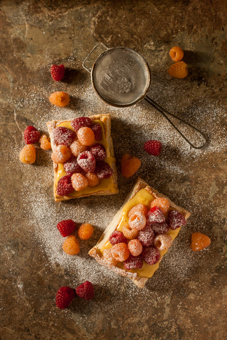 Puff pastry, vanilla custard with red and golden raspberries. Food Photography| www.jonathanthompsonphotography.com