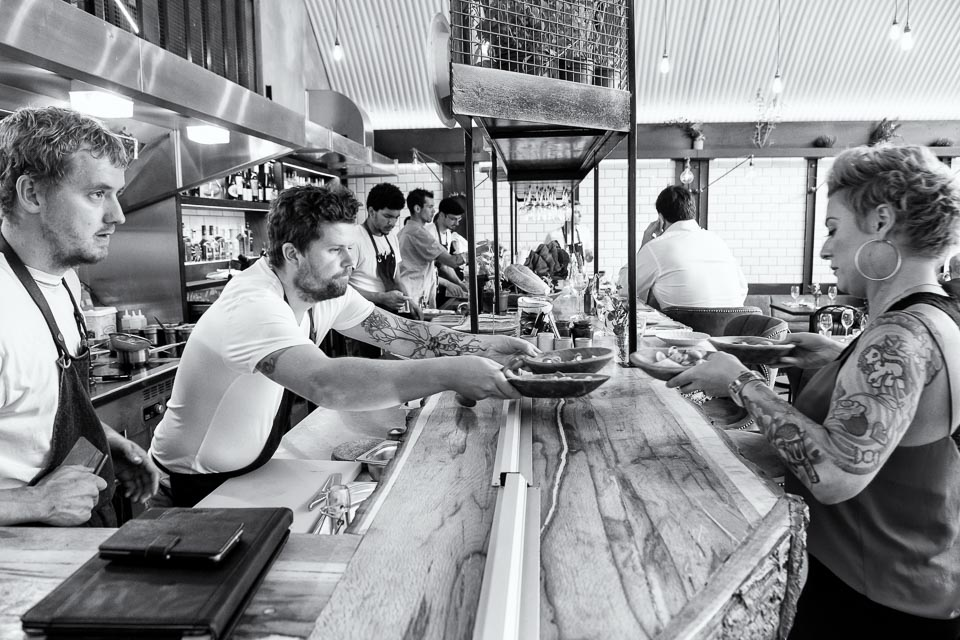 Restaurant photography: Service at the pass, Paradise Garage with chefs Simon Woodrow and Robin Gill