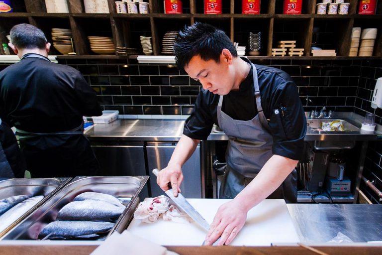 Restaurant photography: Chef peeping fish at Yama Momo