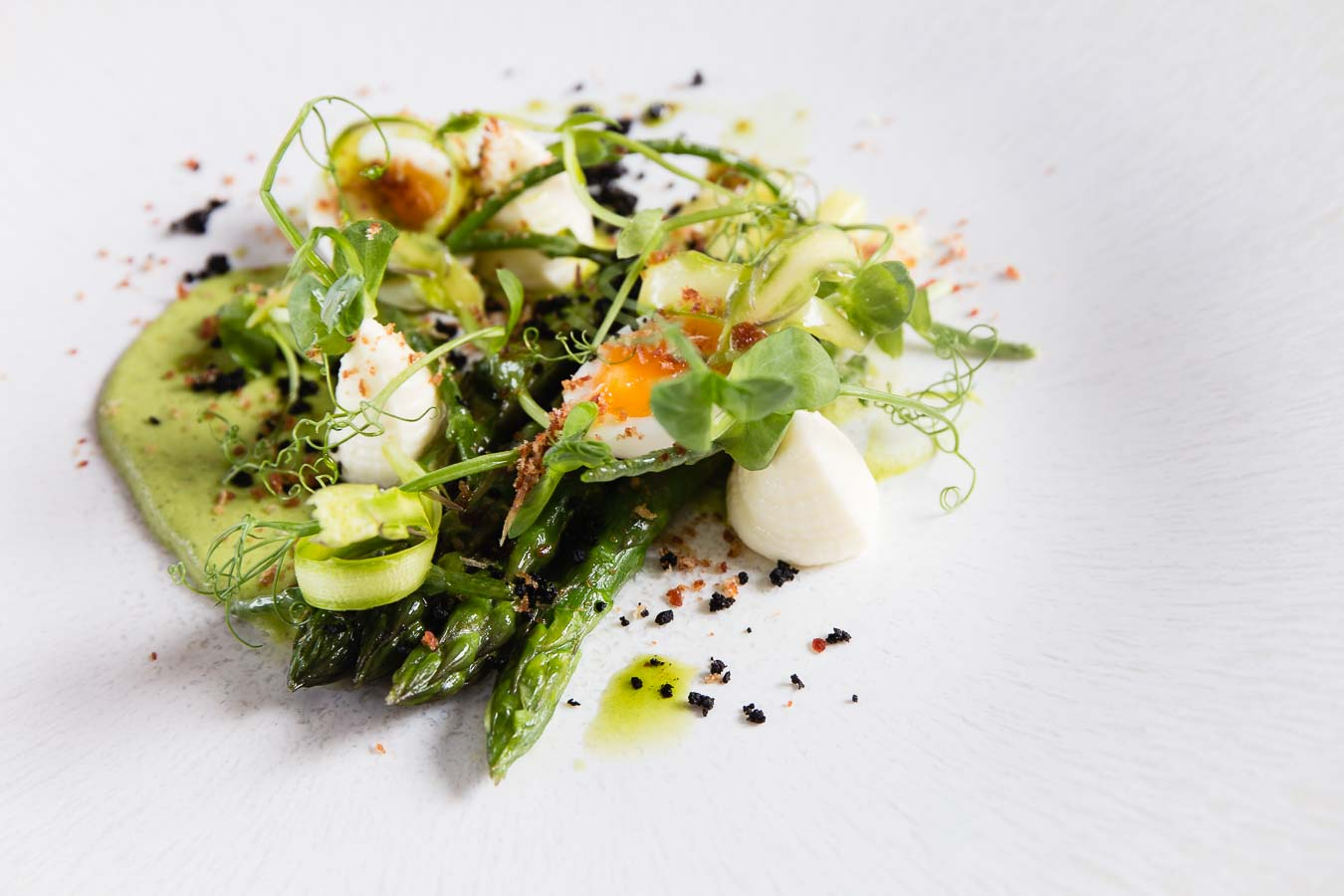 A fine dining plate of shaved and whole asparagus with an egg, pea sprouts and a pea foam, on a white textured plate