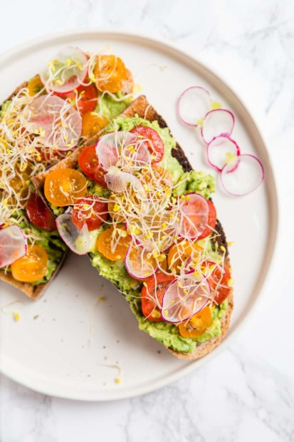 Slices of artisan bread toasted, spread with avocado, topped with sliced cherry tomatoes, radish and bean sprouts on a white, shallow plate