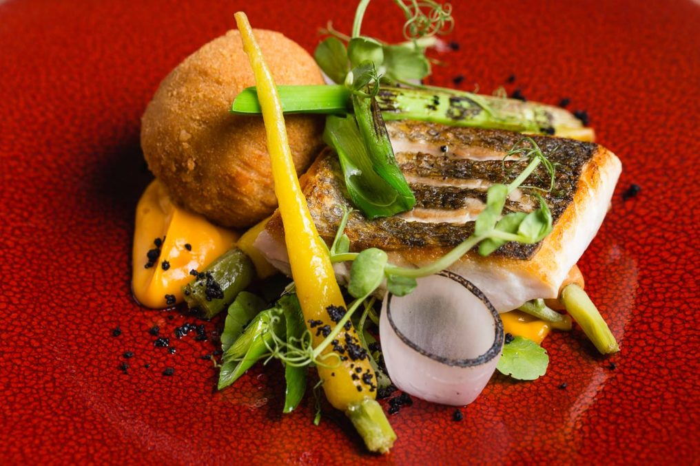 Cooked hake with baby carrots, carrot puré and a breaded fried ball of potato, on a textured red plate in a fine dining style
