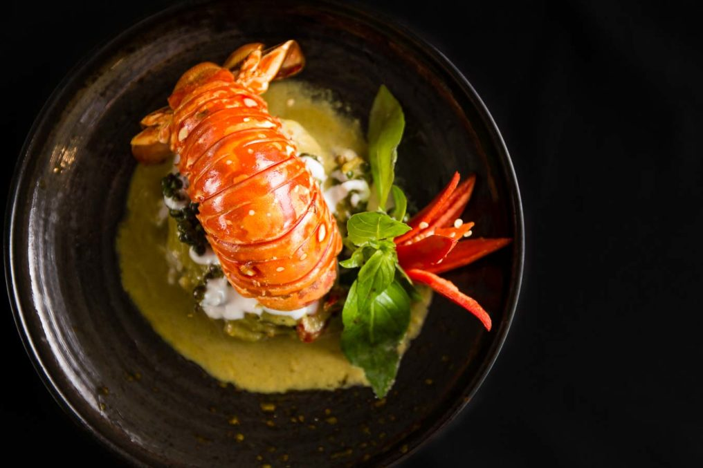 Whole lobster tail on rice noodles in a dark textured bowl with a black background