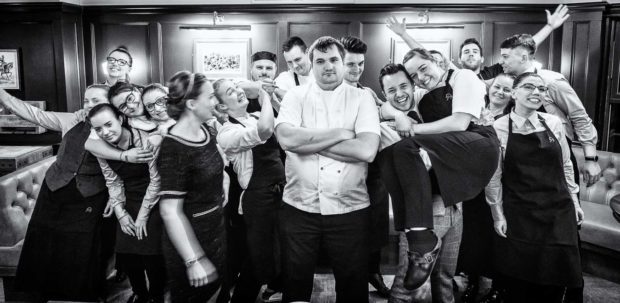 Fun group shot with a serious looking chef in the centre and all the rest of the restaurant team messing about around him. With Chef Steven Ellis, GM Daniel Crump, Ami Ellis and Margriet Crump