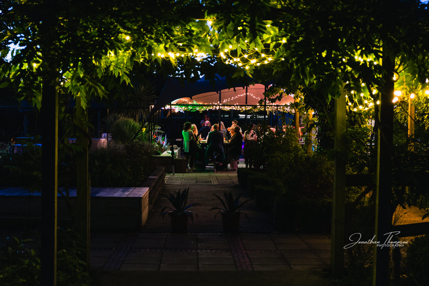 Dark evening scene looking under a foliage arch with fairy lights. A short distance away there are a group of people sitting at tables. Chester Zoo