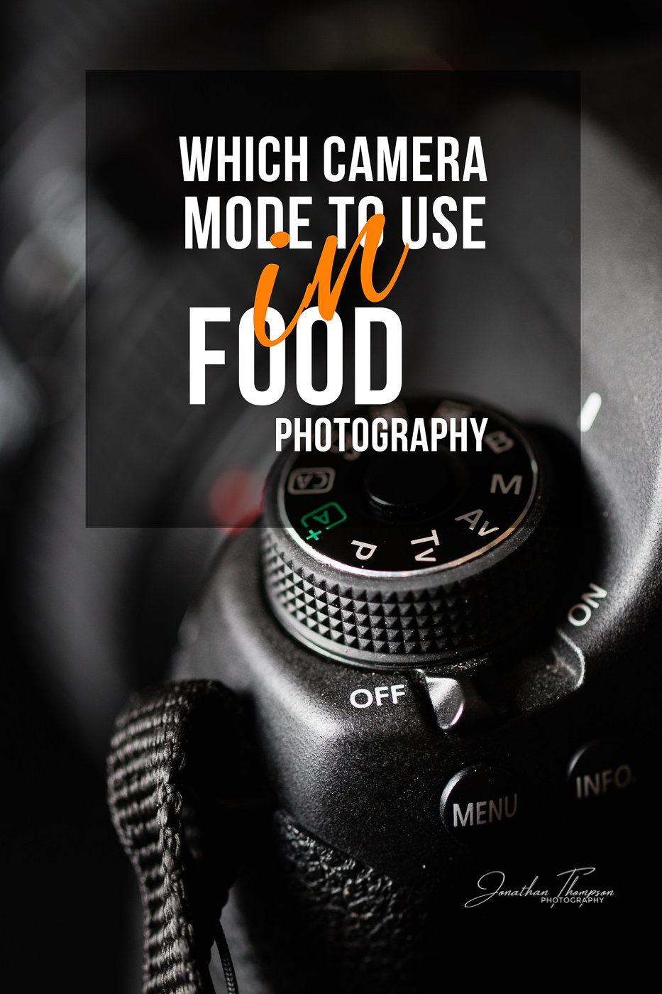 Vertical photo of a camera mode dial with a title overlaying with Which Camera Mode To Use In Food Photography