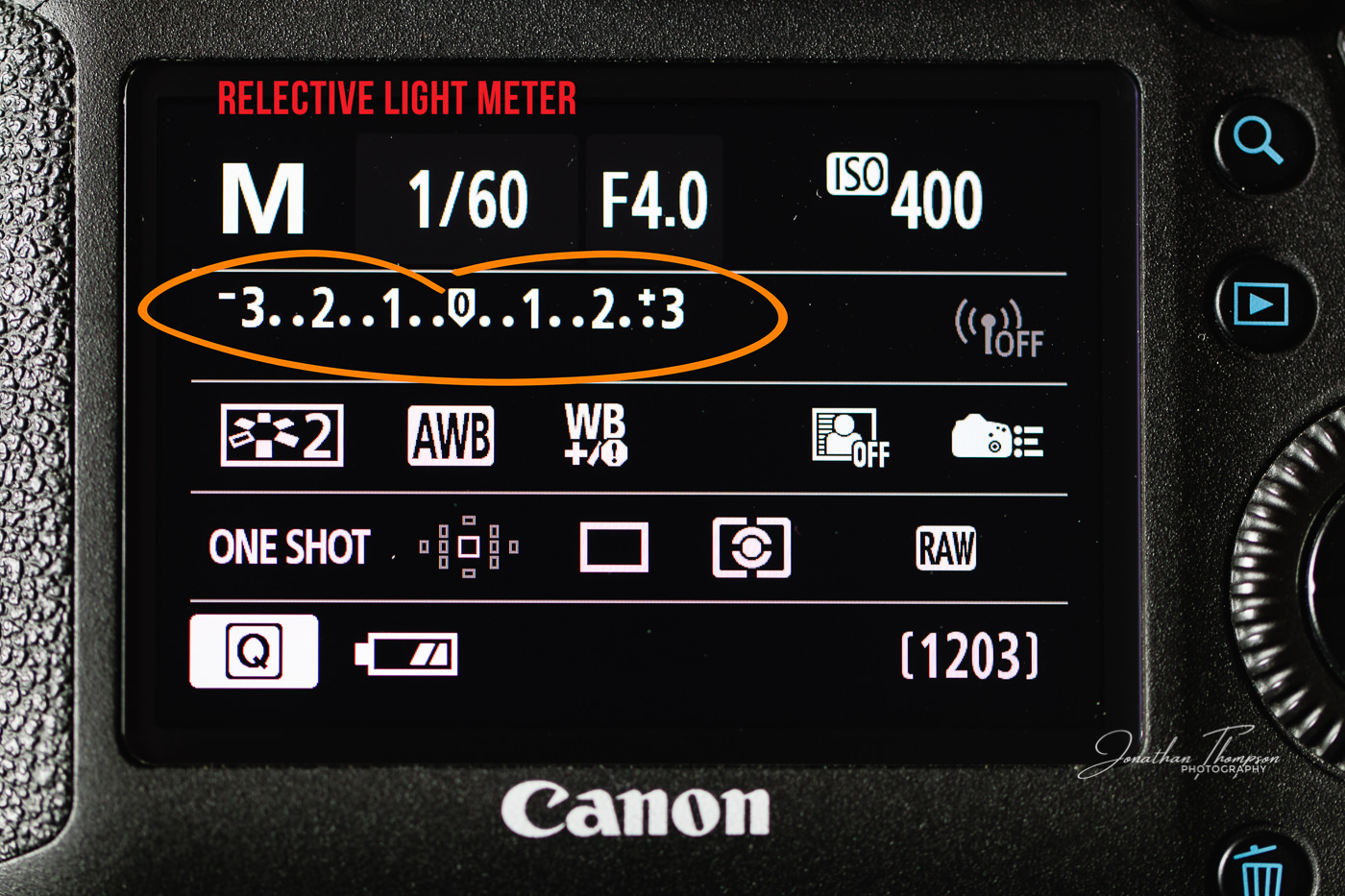 Rear screen of a Canon DSLR info screen with the reflective meter readout circled