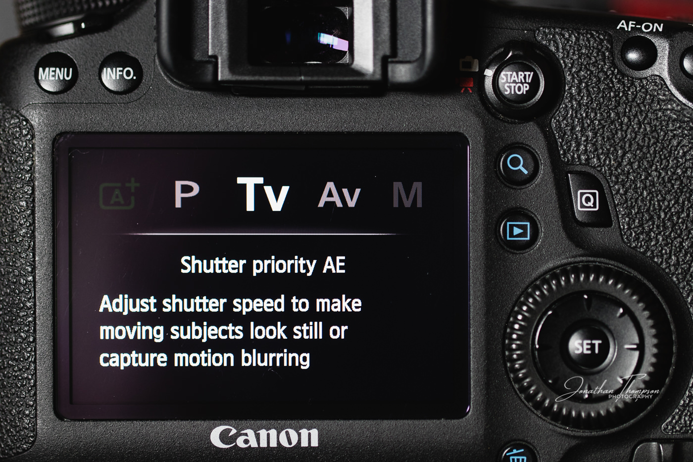 Canon DSLR rear screen displaying Shutter Priority camera mode