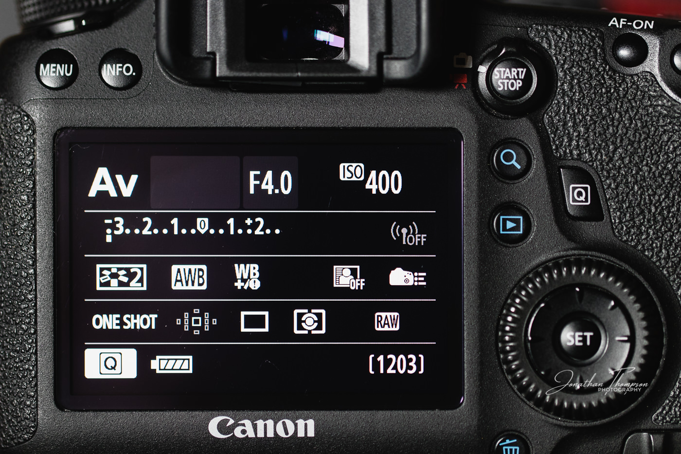 Canon DSLR rear screen displaying Aperture Priority camera mode