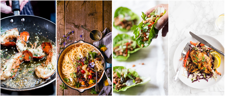 Four different food photography images in one banner