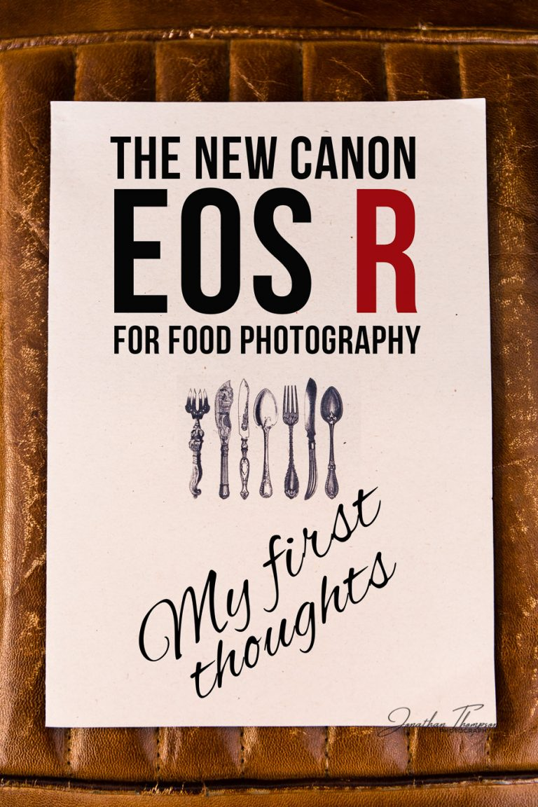 A restaurant menu laying on top of a restaurant seat with text The New Canon EOS R For Food Photography