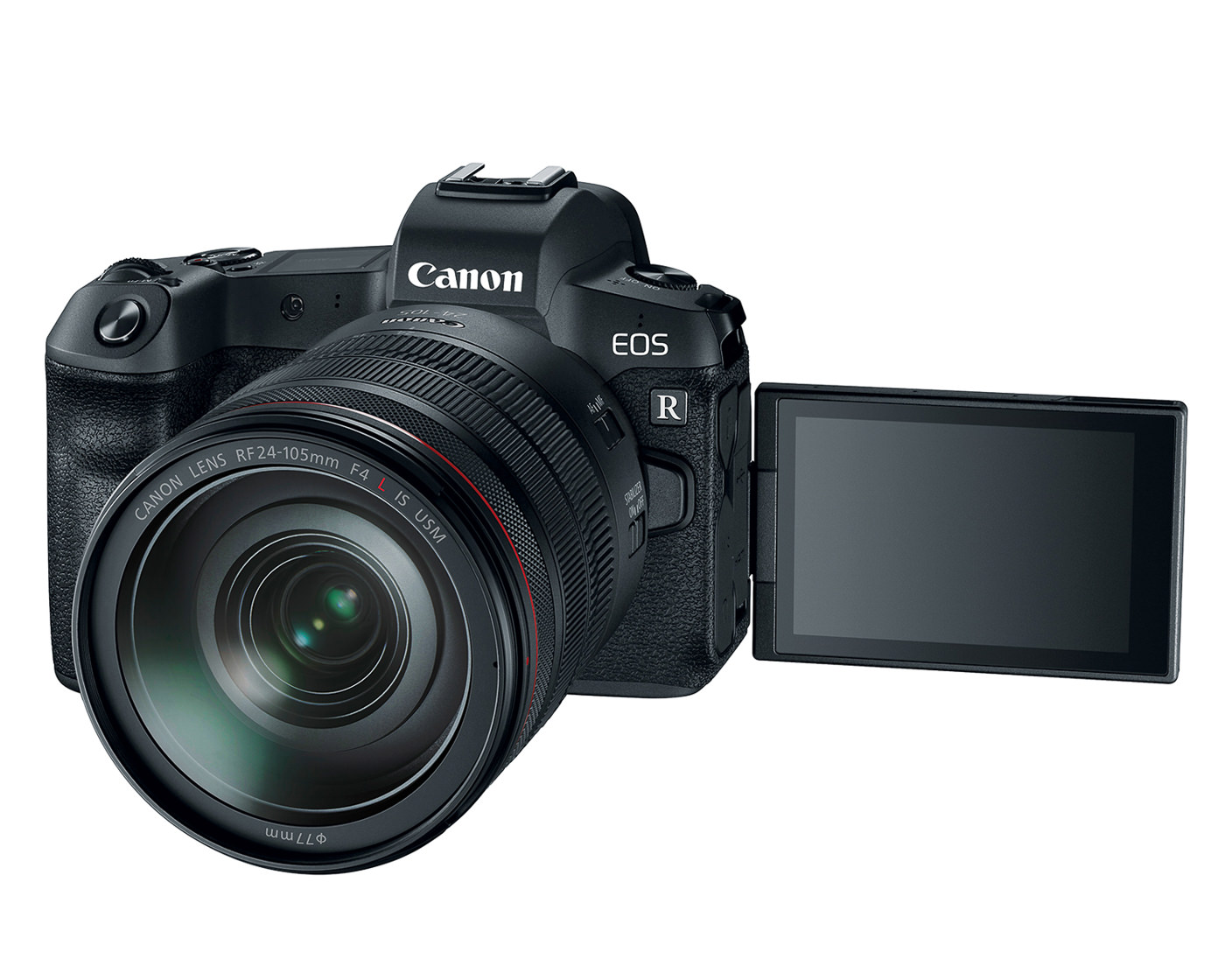 Canon EOS R front view with 24-105 f4 lens and rear screen flipped out