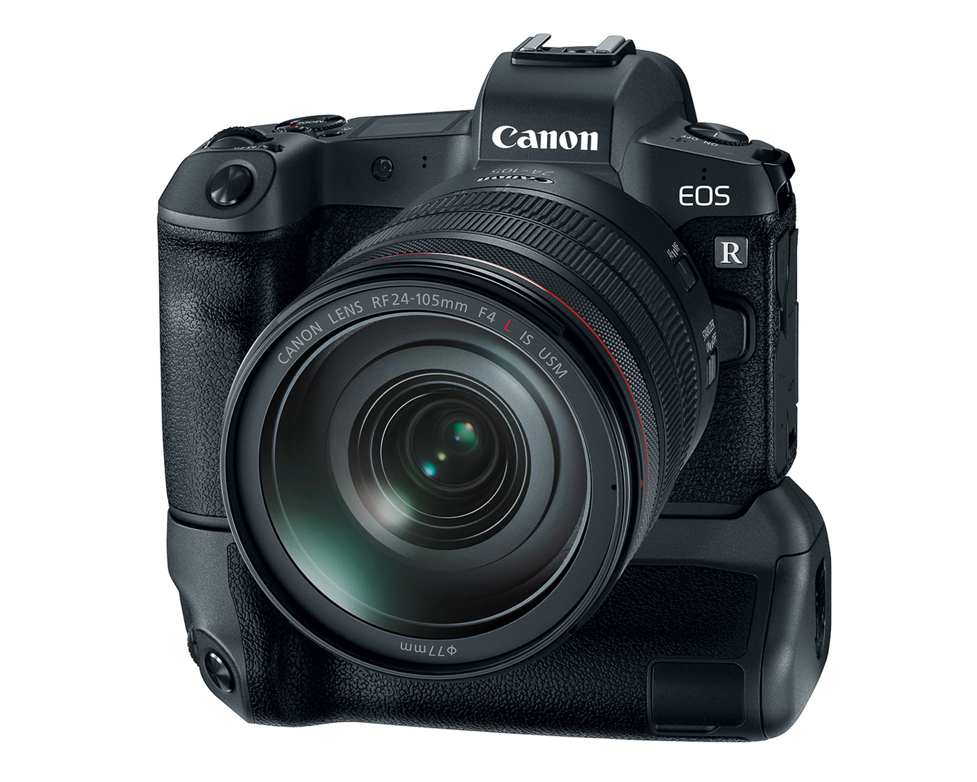 Canon EOS R front view with 24-105 f4 lens and battery grip
