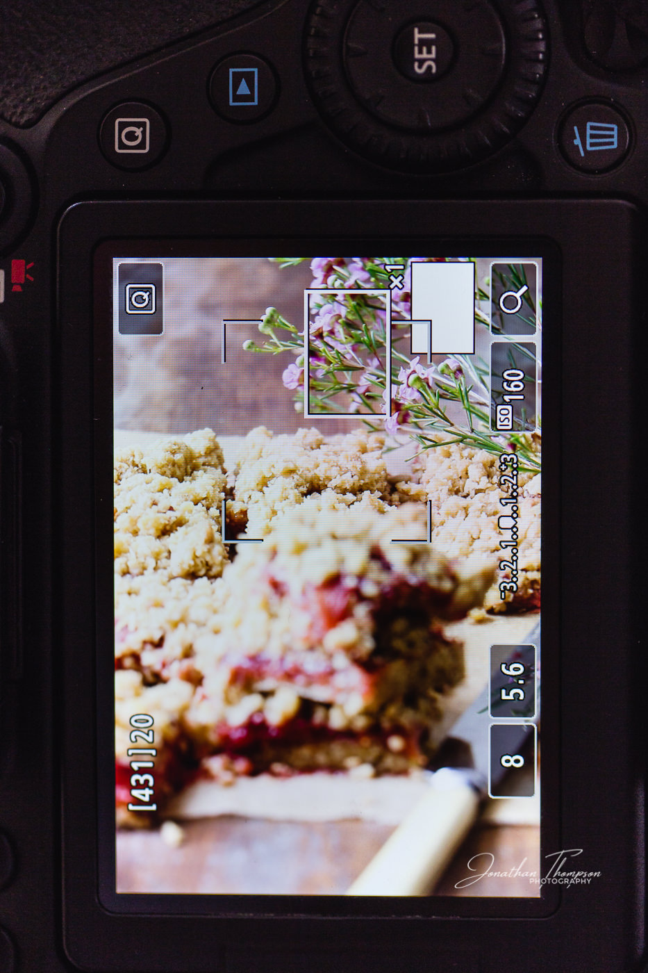 Back of Canon camera showing how using live view helps to gain sharp focus in food photography