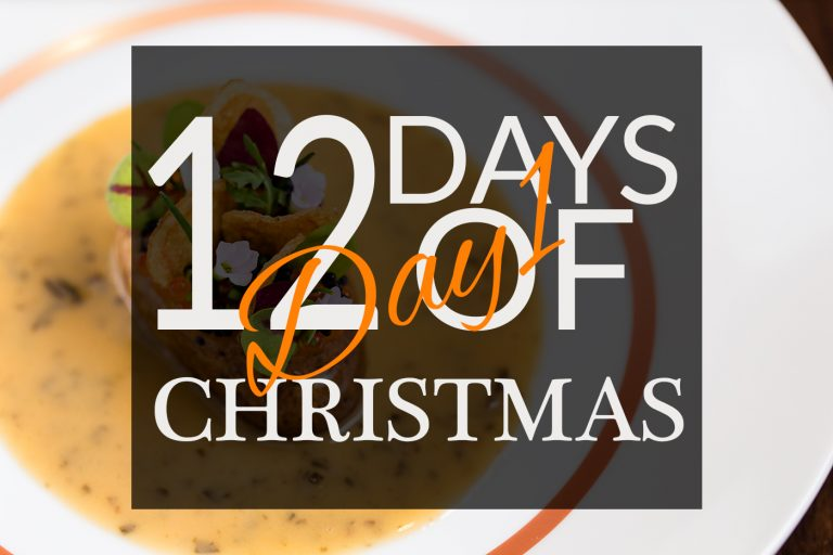 Clare Smyth potato dish with 12 Days Of Christmas Day 1 graphic