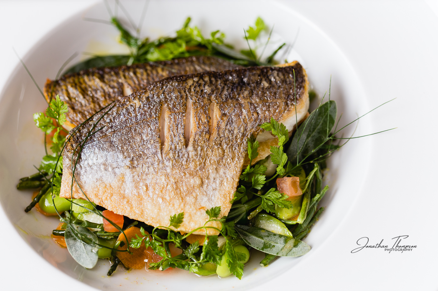 Beautifully cooked fish on a bed of green salad, herbs and vegetables. The fish skin is scored with amazing texture. Served in a white bowl from The Oxford Blue Pub