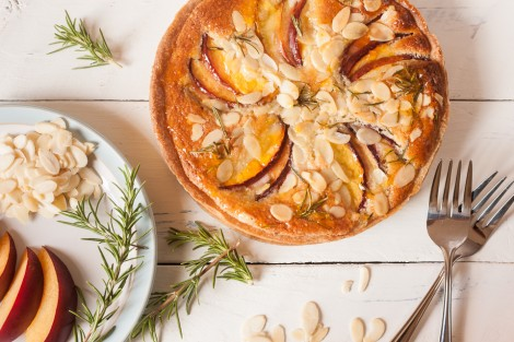 Wilde Orchard's nectarine, rosemary and frangipane tart