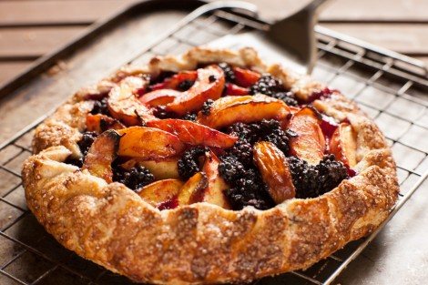 Blackberry and nectarine tart