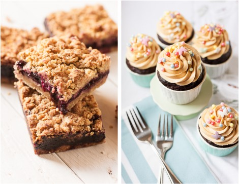 Blueberry Crumble Bars and Chocolate Cupcakes