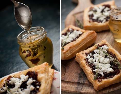 Onion Goat Cheese Tart with Truffle Honey