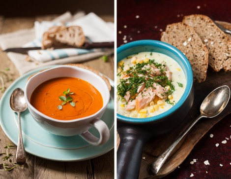Roasted Vegetable Soup & Potato Chowder with Wild Salmon