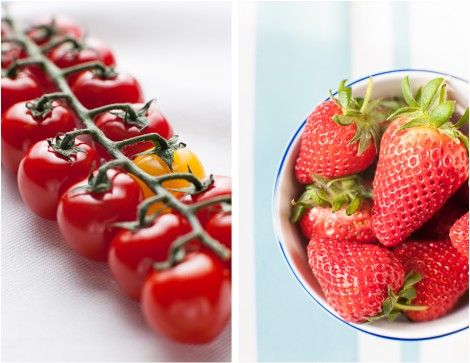 Tomato Imposter & Bowl of Fresh Strawberries