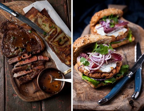 Grilled Sirloin Steak with Whisky Sauce & Kidney Bean Burger