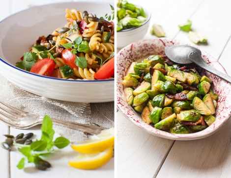 Pasta Salad & Bacon, Maple and Whisky Brussel Sprouts