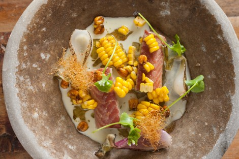Applewood smoked eel, Sussex sweet corn, cobnuts The Dairy